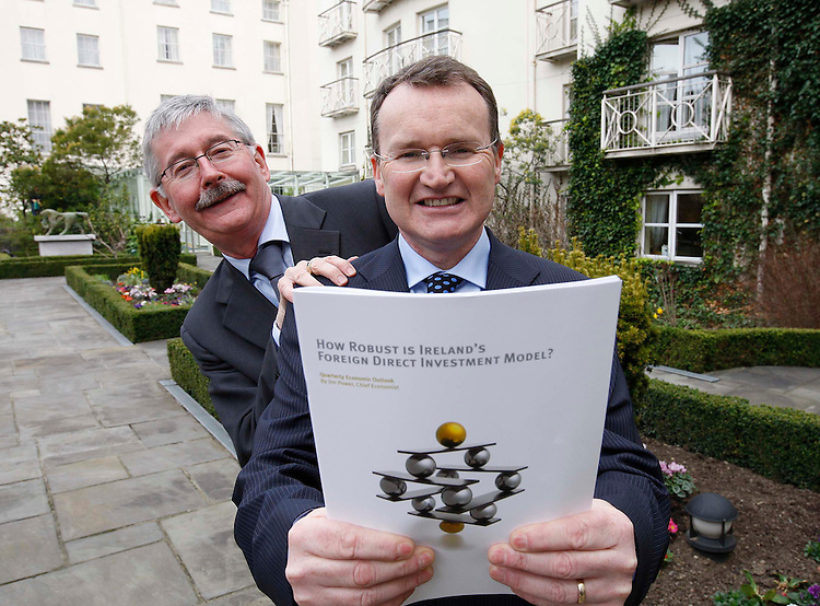 """Adrian Hegarty, Group Chief Executive Friends First (left) and Friends First Chief Economist, Jim Power (right), pictured here at the company's Quarterly Economic Outlook entitled """"How Robust is Ireland's Foreign Direct Investment Model?"""" held in the Merrion Hotel, Dublin. Pic. Robbie Reynolds.."""