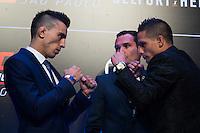 SÃO PAULO, SP, 05.11.2015 - UFC-SP -  Thomas Almeida e Anthony Birchark durante encarada no UFC Media Day, no hotel Hilton, na zona sul de São Paulo, na manhã desta quinta-feira, 05. (Foto: Adriana Spaca/Brazil Photo Press)