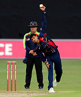 Imran Quayyum bowls for Kent during the Vitality Blast south group game between Kent Spitfires and Surrey at the St Lawrence ground, Canterbury, on Fri July 20, 2018