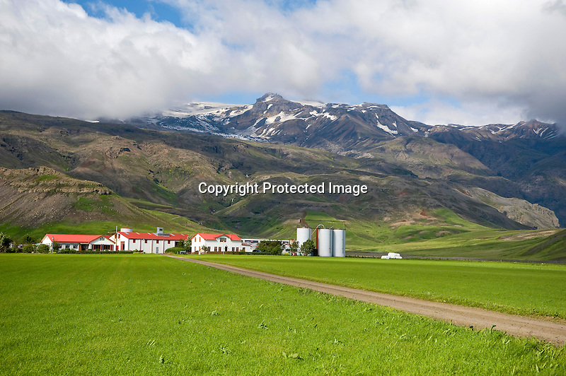 View of Homestead at Foot of Eyjafjallajokull Glacier on the South Coast of Iceland