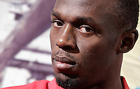 Il velocista giamaicano Usain Bolt tiene una conferenza stampa a Roma, 29 maggio 2012, in occasione della sua partecipazione al Golden Gala Diamond League di atletica leggera in programma allo stadio Olimpico il 31 maggio.<br />