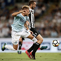 Calcio, Football - Juventus vs Lazio Italian Super Cup Final  <br /> Lazio's Ciro Immobile (l) in action with Juventu's Giorgio Chiellini (r) during the Italian Super Cup Final football match between Juventus and Lazio at Rome's Olympic stadium, on August 13, 2017.<br /> UPDATE IMAGES PRESS/Isabella Bonotto