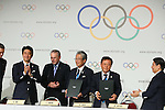 (L to R) <br />  Shinzo Abe, <br />  Jacques Rogge, <br /> Tsunekazu Takeda, <br />  Naoki Inose, <br /> SEPTEMBER 7, 2013 : <br /> A press conference after Tokyo was announced as the winning city bid for the 2020 Summer Olympic Games at the 125th International Olympic Committee (IOC) session in Buenos Aires Argentina, on Saturday September 7, 2013. (Photo by YUTAKA/AFLO SPORT) [1040]