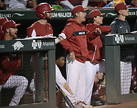 NWA Democrat-Gazette/ANDY SHUPE<br /> Arkansas coach Dave Van Horn reacts Friday, May 10, 2019, after a run scores during the eighth inning against LSU at Baum-Walker Stadium in Fayetteville. Visit nwadg.com/photos to see more photographs from the game.