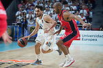 Real Madrid Facundo Campazzo and Baskonia Vitoria Jayson Granger during Turkish Airlines Euroleague match between Real Madrid and Baskonia Vitoria at Wizink Center in Madrid, Spain. January 17, 2018. (ALTERPHOTOS/Borja B.Hojas)