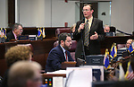 Nevada Sen. Ben Kieckhefer, R-Reno, speaks on the Senate floor at the Legislative Building, in Carson City, Nev., on Friday, May 31, 2013. <br /> Photo by Cathleen Allison