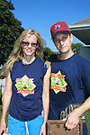 Lori Singer (Footloose and Fame) poses with Josh Charles, (The Good Wife) athe 63rd Annual Charity Softball Game 2011 - Artists versus Writers to benefit East Hampton Day Care Learning Center, East End Hospice and Phoenix Houses of Long Island - played at Herrick Park, East Hampton, New York. (Photo by Sue Coflin/Max Photos)