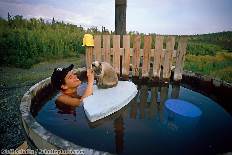 Susan Butcher In Hot Tub With Cat Manley Ak Summer