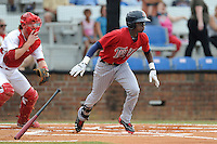 Shortstop Nick Gordon (9) of the Elizabethton Twins bats in a game against the Johnson City Cardinals on Sunday, July 27, 2014, at Howard Johnson Field at Cardinal Park in Johnson City, Tennessee. Gordon was a first-round pick of the Minnesota Twins in the 2014 First-Year Player Draft.(Tom Priddy/Four Seam Images)