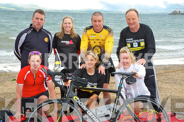 IRON MAN: Tralee Triathon Club in Training in Fenit on Wednesday evening as they will enter the Iron Man competition in Wales on the 8th September 2013. Front l-r: Caitríona Kelly, Amy Ní Chiardubháin and Annie Horgan. Back l-r: Niall Ó Liongshig, Irene Ralston, Martin Tierney and Mike Finnerty.