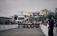 Women's Elite race start<br /> <br /> UCI cyclocross World Cup Koksijde / Belgium 2017