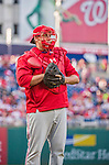 22 May 2015: Philadelphia Phillies pitcher Aaron Harang dons catching gear as he partakes in a pre-game stand-off against Washington Nationals pitcher Aaron Barrett (not pictured) prior to a game at Nationals Park in Washington, DC. The Nationals defeated the Phillies 2-1 in the first game of their 3-game weekend series. Mandatory Credit: Ed Wolfstein Photo *** RAW (NEF) Image File Available ***