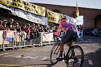 Jonathan Klever Caicedo (ECU/EF Education First) up the very steep part up San Luca climb<br /> <br /> Stage 1 (ITT): Bologna to Bologna/San Luca (8.2km)<br /> 102nd Giro d'Italia 2019<br /> <br /> ©kramon