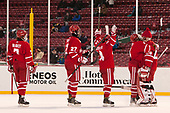Charlie McAvoy (BU - 7), Doyle Somerby (BU - 27), Bobo Carpenter (BU - 14), Brandon Hickey (BU - 4), Jake Oettinger (BU - 29) - The Boston University Terriers defeated the University of Massachusetts Minutemen 5-3 on Sunday, January 8, 2017, at Fenway Park in Boston, Massachusetts.The Boston University Terriers defeated the University of Massachusetts Minutemen 5-3 on Sunday, January 8, 2017, at Fenway Park.