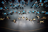 View from above the stage of Thorne Hall, looking down on students participating in the Oxy tradition, Dance Production, on opening night, March 17, 2017.<br /> (Photo by Marc Campos, Occidental College Photographer)