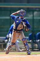 GCL Blue Jays catcher Matt Morgan (36) throws to first during a game against the GCL Braves on June 27, 2014 at ESPN Wide World of Sports in Orlando, Florida.  GCL Braves defeated GCL Blue Jays 10-9.  (Mike Janes/Four Seam Images)