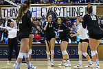 DURHAM, NC - NOVEMBER 24: Duke's Samantha Amos (17) celebrates a point with Emma Paradiso (TUR). The Duke University Blue Devils hosted the University of North Carolina Tar Heels on November 24, 2017 at Cameron Indoor Stadium in Durham, NC in a Division I women's college volleyball match. Duke won 3-0 (25-21, 25-22, 25-20).