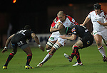 Ulster lock Lewis Stevenson takes on Dragons pair Tonderai Chavhanga and Adam Hughes..Celtic League.Newport Gwent Dragons v Ulster.Rodney Parade.26.10.12.©Steve Pope