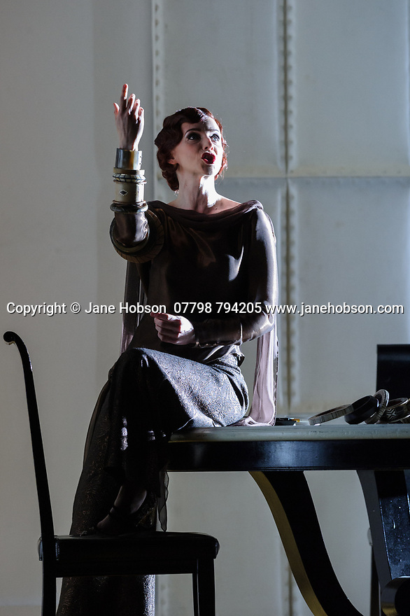 """London, UK. 13.03.2017. English National Opera preents Christopher Alden's production of """"Partenope"""", by George Frederic Handel, at the London Coliseum.  Picture shows: Sarah Tynan (Partenope). Photograph © Jane Hobson."""