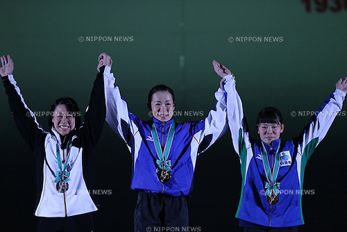 (L-R) <br /> Honami Mizuochi, <br /> Misaki Oshiro, <br /> Kanako Itokazu, <br /> MAY 21, 2016 - Weightlifting : <br /> All Japan Weightlifting Championship 2016 Women's -48kg <br /> Award Ceremony at Yamanashi Municipal Gymnasium, Yamanashi, Japan. <br /> (Photo by AFLO SPORT)
