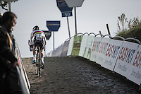 U23 World Champion Eli Yserbyt (BEL/U23/Marlux-Napoleon Games) leading the race up the final stretch of the infamous Koppenberg<br /> <br /> 25th Koppenbergcross 2016