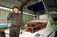 Deputado estadual pelo Amazonas Mário Frota,acusado de pedir propina em nome do senador Jáder Barbalho ao empresário David Benayon para liberar recursos da Sudam, em sua lancha Atalanta cujos 2 motores Volvo foram dados de presente pelo empresário Benayon<br />Manaus Amazonas Brasil <br />26/07/2001.<br />Foto Paulo Santos/Interfoto