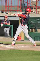 Peoria Chiefs Eliezer Alvarez (15) swings during the Midwest League game against the Burlington Bees at Community Field on June 9, 2016 in Burlington, Iowa.  Peoria won 6-4.  (Dennis Hubbard/Four Seam Images)