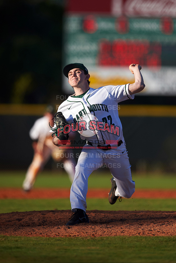 Dartmouth Big Green relief pitcher Michael Parsons (22) delivers a pitch during a game against the St. Bonaventure Bonnies on February 25, 2017 at North Charlotte Regional Park in Port Charlotte, Florida.  St. Bonaventure defeated Dartmouth 8-7.  (Mike Janes/Four Seam Images)