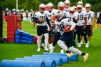 July 27, 2017: New England Patriots running back Brandon Bolden (38) does a footwork drill at the New England Patriots training camp held on the at Gillette Stadium, in Foxborough, Massachusetts. Eric Canha/CSM