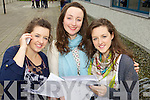 Students from Mounthawk Secondary School, who got their Leaving Cert results on Wednesday, from left: Niamh Godley, Ciara Finnerty and Orla Godley, all from Fenit..