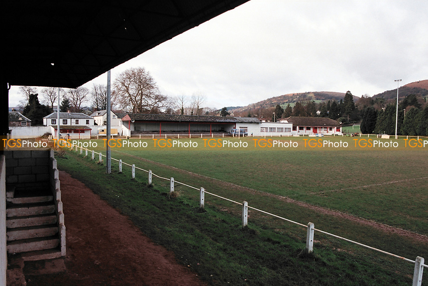 General view of Abergavenny Thursdays FC Football Ground, Pen-Y-Pound Stadium, Abergavenny, Gwent, Wales, pictured on 31st December 1994