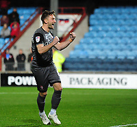 Lincoln City's Lee Frecklington celebrates scoring his penalty<br /> <br /> Photographer Andrew Vaughan/CameraSport<br /> <br /> The EFL Checkatrade Trophy Northern Group H - Scunthorpe United v Lincoln City - Tuesday 9th October 2018 - Glanford Park - Scunthorpe<br />  <br /> World Copyright &copy; 2018 CameraSport. All rights reserved. 43 Linden Ave. Countesthorpe. Leicester. England. LE8 5PG - Tel: +44 (0) 116 277 4147 - admin@camerasport.com - www.camerasport.com