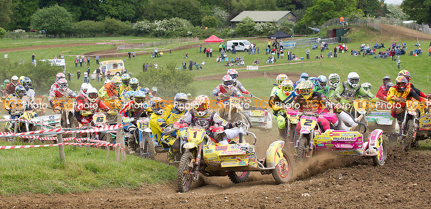 The race for the hole shot, moto 2 during ACU British Sidecar Cross Championship Round Three at Wattisfield Hall MX Track on 22nd May 2016