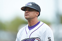 Winston-Salem Dash manager Omar Vizquel (13) \coaches third base during the game against the Salem Red Sox at BB&T Ballpark on April 22, 2018 in Winston-Salem, North Carolina.  The Red Sox defeated the Dash 6-4 in 10 innings.  (Brian Westerholt/Four Seam Images)
