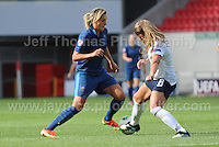 Claire Lavogez of France in action against Paige Williams of England during the UEFA Womens U19 Final at Parc y Scarlets Saturday 31st August 2013. All images are the copyright of Jeff Thomas Photography-www.jaypics.photoshelter.com-07837 386244-Any use of images must be authorised by the copyright owner.