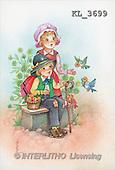 Interlitho, Emilio, CHILDREN, nostalgic, paintings, boy, girl, bank, birds(KL3699,#K#) Kinder, niños, nostalgisch, nostálgico, illustrations, pinturas