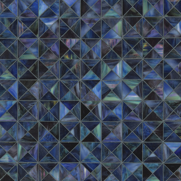 Christopher G1, a handmade mosaic shown in Ametrine jewel glass, is part of the Illusions® collection by New Ravenna.