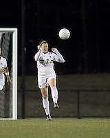 "Boston College forward Maddie Payne (3) heads the ball. Boston College defeated West Virginia, 4-0, in NCAA tournament ""Sweet 16"" match at Newton Soccer Field, Newton, MA."
