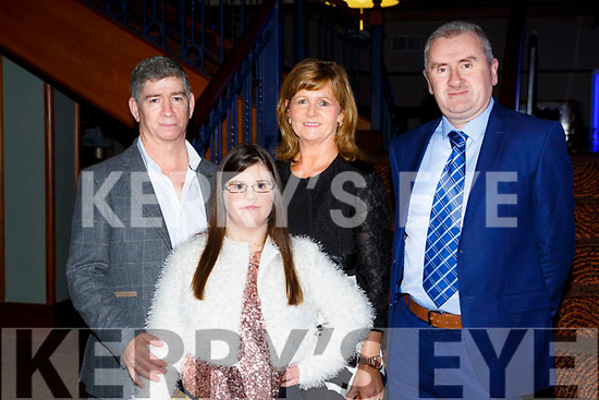 Paudie, Jessica and Sheila Power Abbeyfeale and Mike Moloney Abbeydourney with the Kerry Down Syndrome Association at the Ring of Kerry cycle cheque presentation in the INEC on Friday