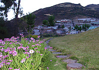 A path of round stepping stones leads the way to the town of Viñak in the lineman Andes.