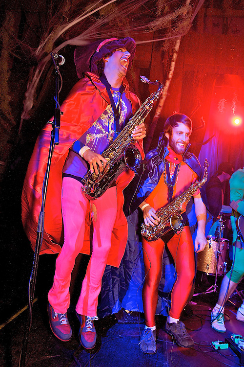 Funk band performing at The Hiro Ballroom, Maritime Hotel in Chelsea for a Halloween party.