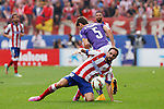 Atletico de Madrid´s Juanfran (L) and Espanyol´s Alvarez during 2014-15 La Liga Atletico de Madrid V Espanyol match at Vicente Calderon stadium in Madrid, Spain. October 19, 2014. (ALTERPHOTOS/Victor Blanco)