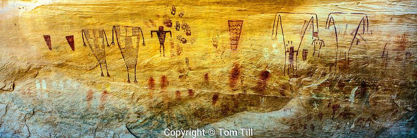 Anasazi rock art, Grand Gulch Wilderness Study Area, Utah, Proposed San Juan Anasazi Wilderness, Ancient Ancestral Puebloan Pictographs   Sheiks Canyon
