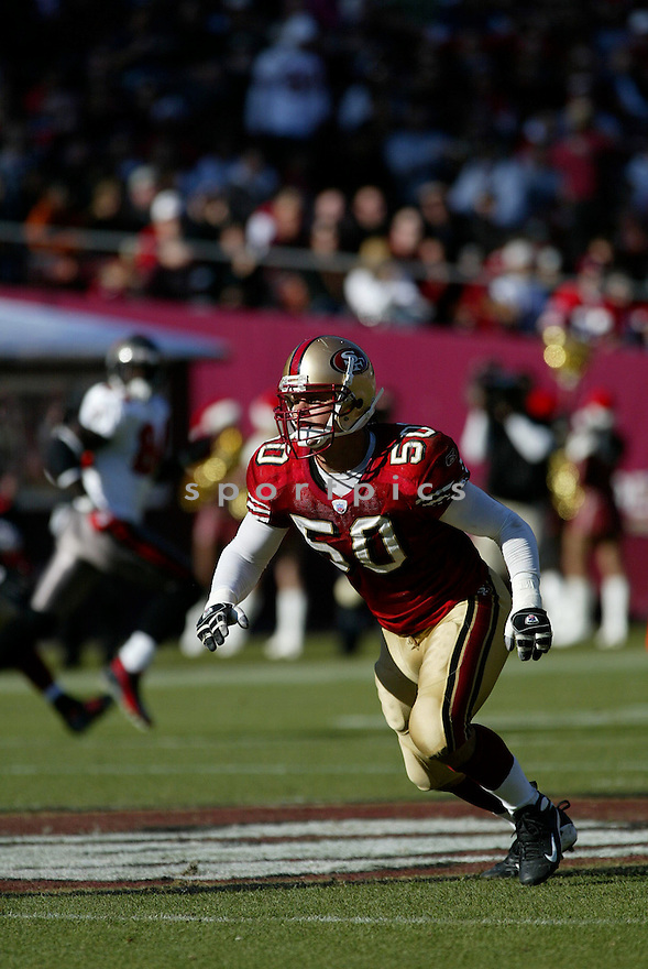 DEREK SMITH, of the San Francisco 49ers  in action during the 49ers game against the Tampa Bay Buccaneers on December 23, 2007 in San Francisco, California...49ER win 27-7..SportPics