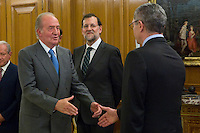 30.07.2012. King Juan Carlos I of Spain attends the promise of the President of the Court of Auditors, Ramon Alvarez de Miranda Garcia, at the Royal Palace of La Zarzuela. In the image King Juan Carlos, Mariano Rajoy Brey, President of governancy and Alberto Ruiz Gallardon,  Minister of Justice (Alterphotos/Marta Gonzalez) *NortePhoto.com<br />