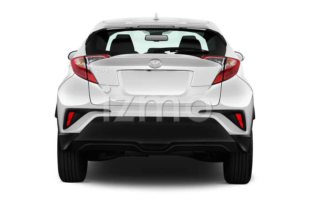Straight rear view of 2018 Toyota C-HR XLE-Premium 5 Door SUV Rear View  stock images