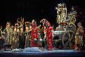 London, UK. 01.04.2014. The Kolobov Novaya Opera presents PRINCE IGOR at the London Coliseum. Picture shows: Prince Igor (Sergey Artamonov - prone), Vladimir Igorevich (Aleksey Tatarintsev) and Konchakovna (Agunda Kulaeva). Photograph © Jane Hobson.