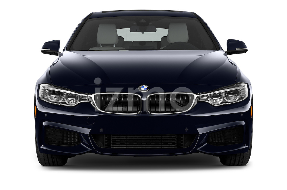 Car photography straight front view of a 2017 BMW 4-Series 440i-Gran-Coupe 5 Door Hatchback Front View