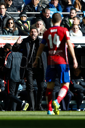 27.02.2016. Madrid, Spain.  Diego Pablo Simeone Coach of Atletico de Madrid during La Liga match between Real Madrid and Atletico de Madrid at the Santiago Bernabeu stadium in Madrid, Spain