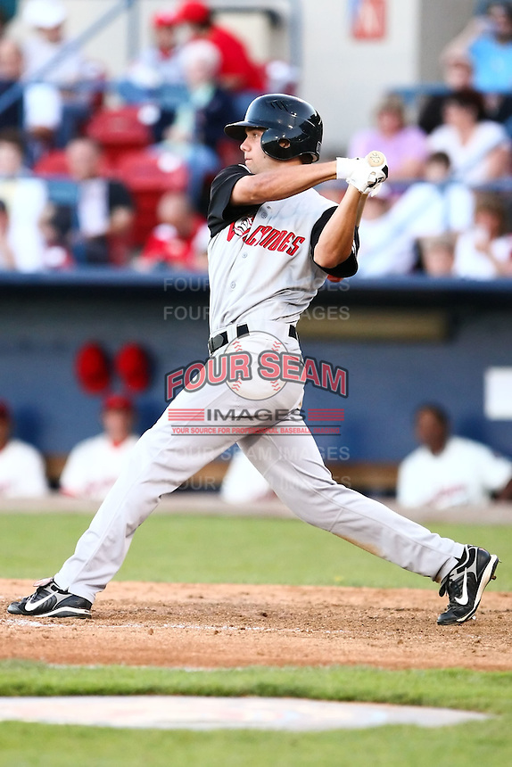 July 23 2008:  Caleb Curry of the Salem-Keizer Volcanoes, Short Season Class-A affiliate of the San Francisco Giants, during a game at Home of the Avista Stadium in Spokane, WA.  Photo by:  Matthew Sauk/Four Seam Images